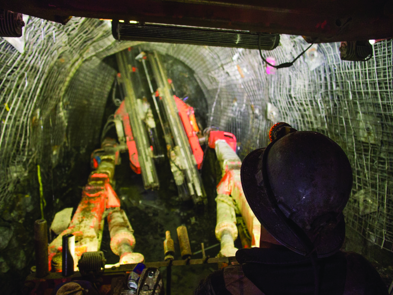 Underground jumbo drilling at the Red October pit at Carosue Dam.